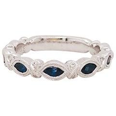 Sapphire Diamond Ring, 1/2 Carat, Band, 0.50 Carat Blue Sapphire White Gold