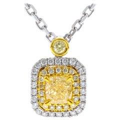 1/2 Carat Yellow Diamond 18 Karat Two-Tone Gold Pendant Necklace
