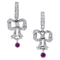 1/2 Carats Round Rhodolite Garnet & Diamond Platinum Bow Earrings