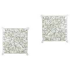 1/2 Carat Round & Baguette Certified Diamond Square Earring in 14k White Gold