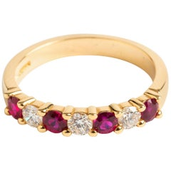 1/2 Eternity Ring with Rubies and Diamonds, 18K Gold, Hallmarked London.