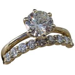 1 3/4 14 Karat Yellow Gold Carat Round Diamond Engagement Ring Set