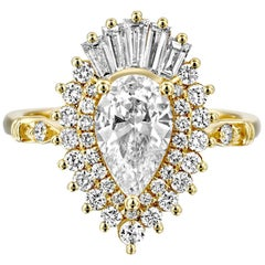 1 3/4 14 Karat Yellow Gold Pear Diamond Ring, Vintage Ballerina Engagement Ring