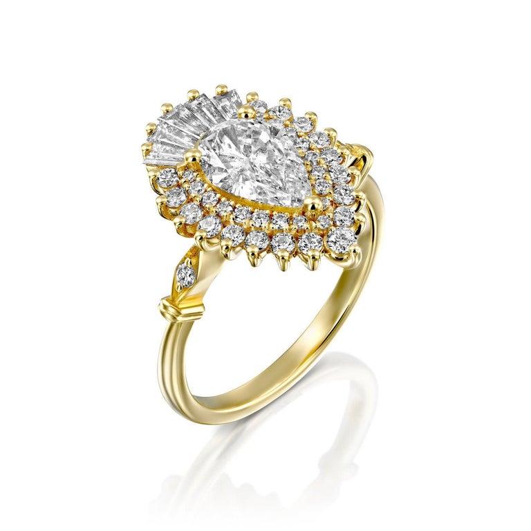 1 3/4 Gatsby Diamond Ring, Vintage Ballerina Engagement Ring, Pear Cut Engagement Ring, Pear Halo Diamond Ring, Pear Ballerina Diamond Ring    Main Stone Name: Pear Cut Natural Diamond  Main Stone Weight: 1.0 ct.  Main Stone Clarity: SI  Main Stone