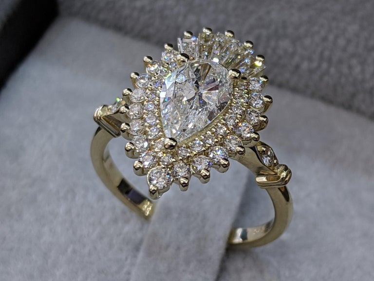 Art Deco 1 3/4 14 Karat Yellow Gold Pear Diamond Ring, Vintage Ballerina Engagement Ring For Sale
