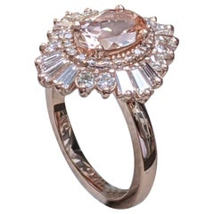 1 3/4 Carat 14 Karat Rose Gold Vintage Oval Morganite Engagement Ring