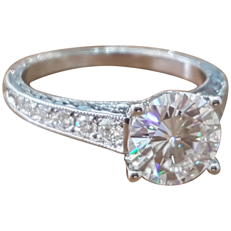 1 3/4 Carat 14 Karat White Gold Round Diamond Engagement Ring, Vintage Ring