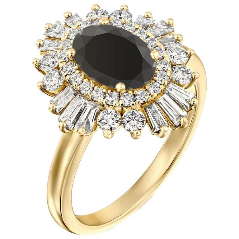 1 3/4 Carat 14 Karat Yellow Gold Certified Oval Black Diamond Engagement Ring For Sale