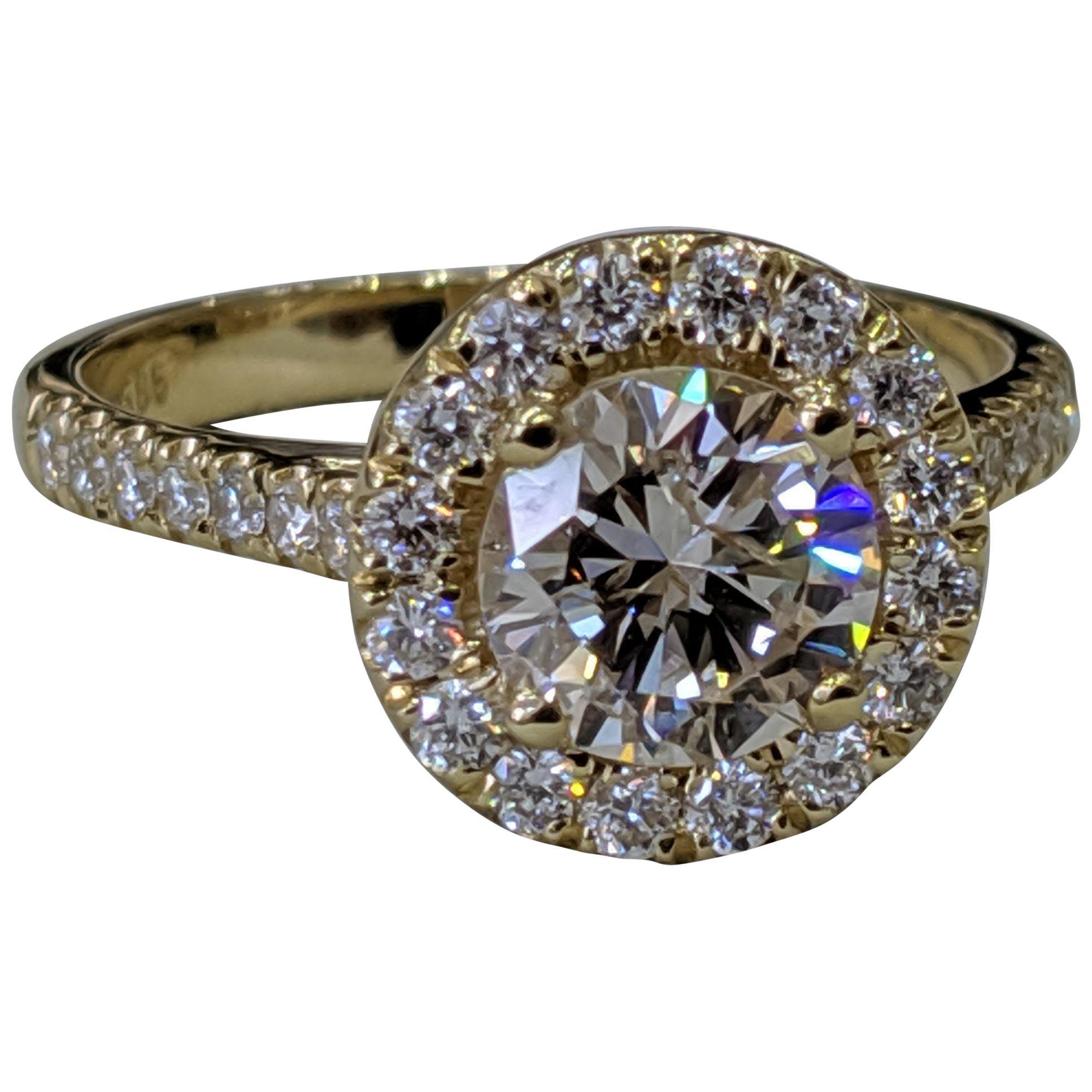 1 3/4 Carat 14 Karat Yellow Gold Round Diamond Engagement Ring Diamond Halo Ring