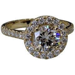 1 3/4 Carat 14 Karat Yellow Gold Round Diamond Engagement Ring Diamond Halo Ring