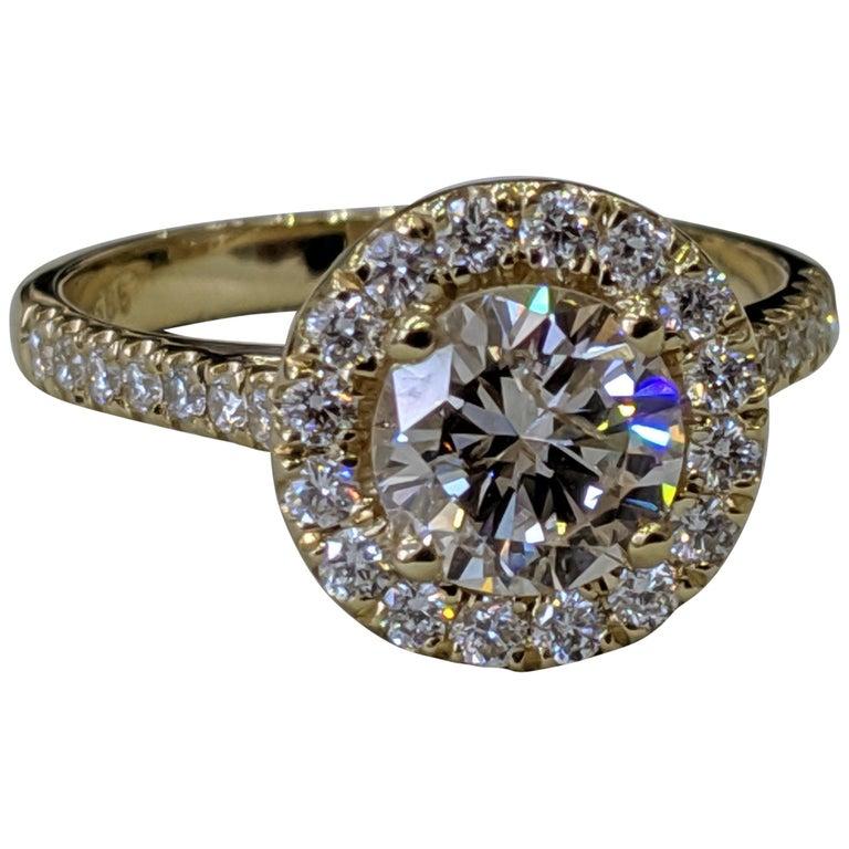 1 3 4 Carat 14 Karat Yellow Gold Round Diamond Engagement Ring Diamond Halo Ring For Sale At 1stdibs