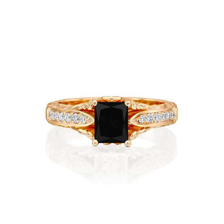 Beautiful solitaire with accents vintage style diamond engagement ring. Center stone is natural, radiant shaped, AAA quality Black Diamond of 1.5 carat and it is surrounded by smaller natural diamonds approx. 0.25 total carat weight. The total carat