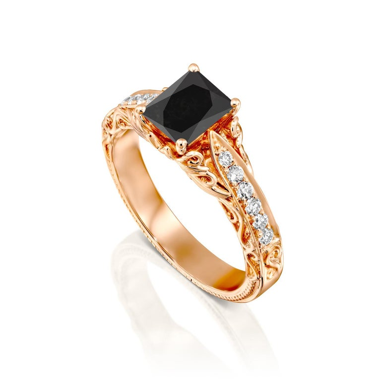 Radiant Cut 1 3/4 Carat 14 Karat Rose Gold Certified Radiant Black Diamond Engagement Ring For Sale