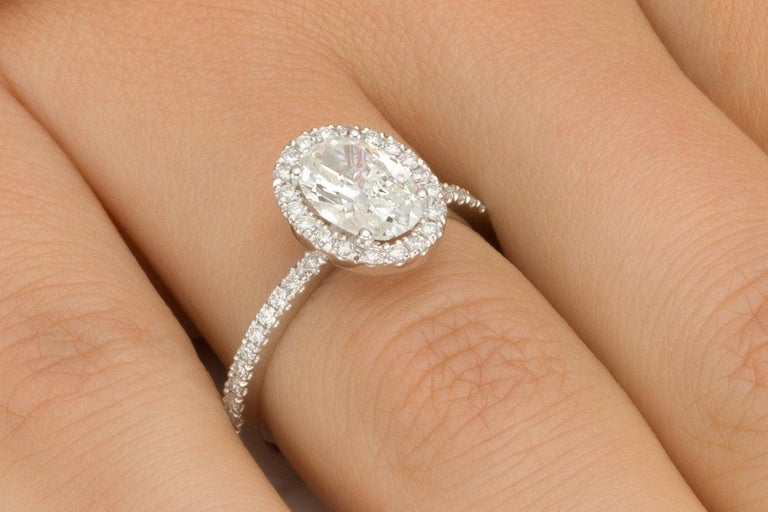 1 3/4 Carat Oval Diamond Engagement Ring, Oval Halo Diamond Ring, Oval Shape Art Deco Ring , Oval Diamond Ring. Halo Promise Ring White Gold    Main Stone Name: Diamond  Main Stone Weight: 1.20 ct.  Main Stone Clarity: SI1  Main Stone Color: G  Main