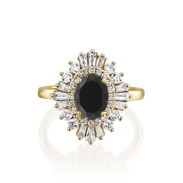Beautiful solitaire with accents Victorian style diamond engagement ring. Center stone is natural, round shaped, AAA quality Black Diamond of 3/4 carat and it is surrounded by smaller natural diamonds approx. 1 total carat weight. The total carat
