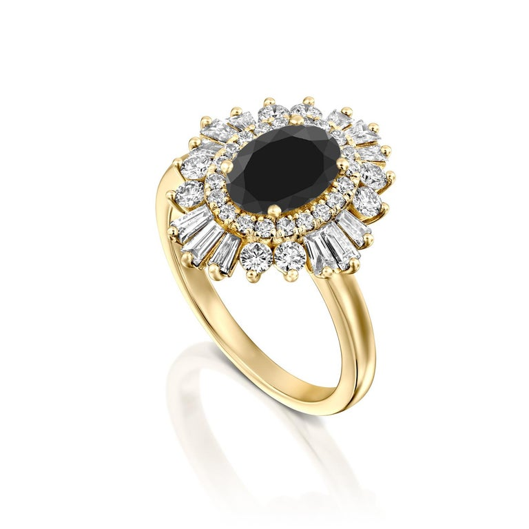 Art Deco 1 3/4 Carat 14 Karat Yellow Gold Certified Oval Black Diamond Engagement Ring For Sale