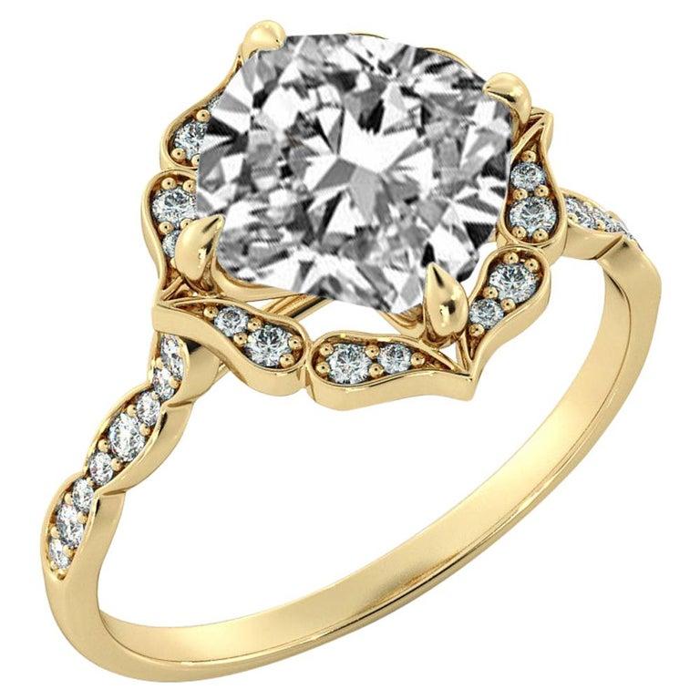1 3/4 Carat GIA Cushion Halo Ring, 18 Karat Yellow Gold Vintage Diamond Ring For Sale