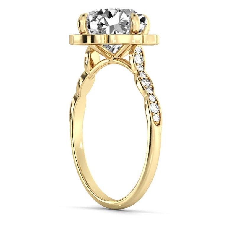 Art Deco 1 3/4 Carat GIA Cushion Halo Ring, 18 Karat Yellow Gold Vintage Diamond Ring For Sale