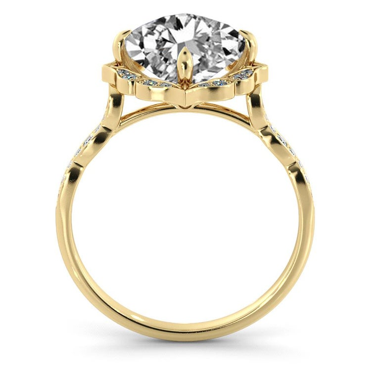 Cushion Cut 1 3/4 Carat GIA Cushion Halo Ring, 18 Karat Yellow Gold Vintage Diamond Ring For Sale