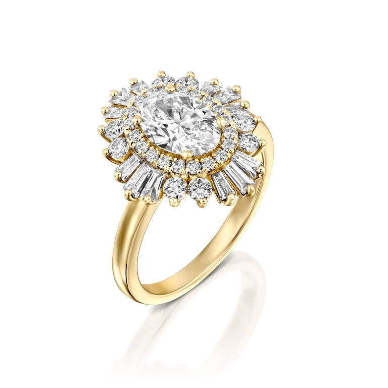Beautiful solitaire with accents Gatsby style GIA certified diamond engagement ring. Ring features a 1 carat oval cut 100% eye clean natural diamond of F-G color and VS2-SI1 clarity and it is surrounded by smaller natural diamonds of approx. 3/4