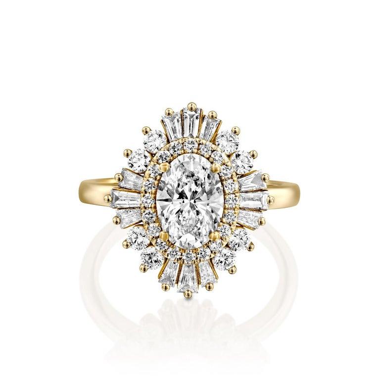 Art Deco 1 3/4 Carat GIA Diamond Ring, Gatsby Oval Halo 18 Karat Yellow Gold Ring For Sale
