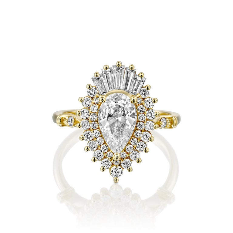 Art Deco 1 3/4 Carat GIA Diamond Ring, Gatsby Pear Halo 18 Karat Yellow Gold Ring For Sale