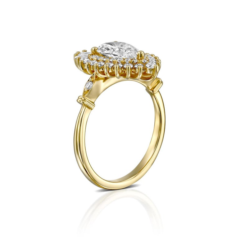 Pear Cut 1 3/4 Carat GIA Diamond Ring, Gatsby Pear Halo 18 Karat Yellow Gold Ring For Sale