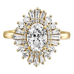 1 3/4 Carat GIA Diamond Ring, Gatsby Oval Halo 18 Karat Yellow Gold Ring