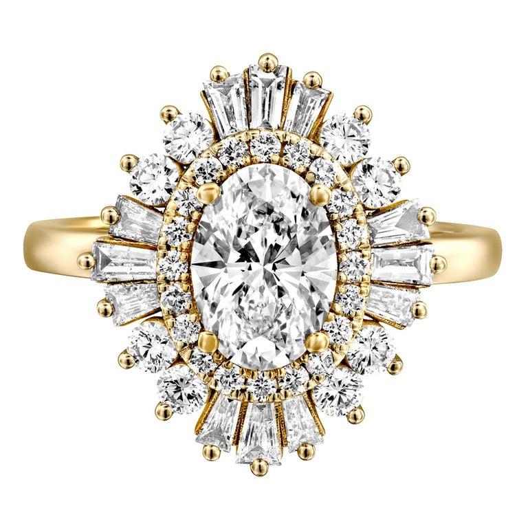 1 3/4 Carat GIA Diamond Ring, Gatsby Oval Halo 18 Karat Yellow Gold Ring For Sale