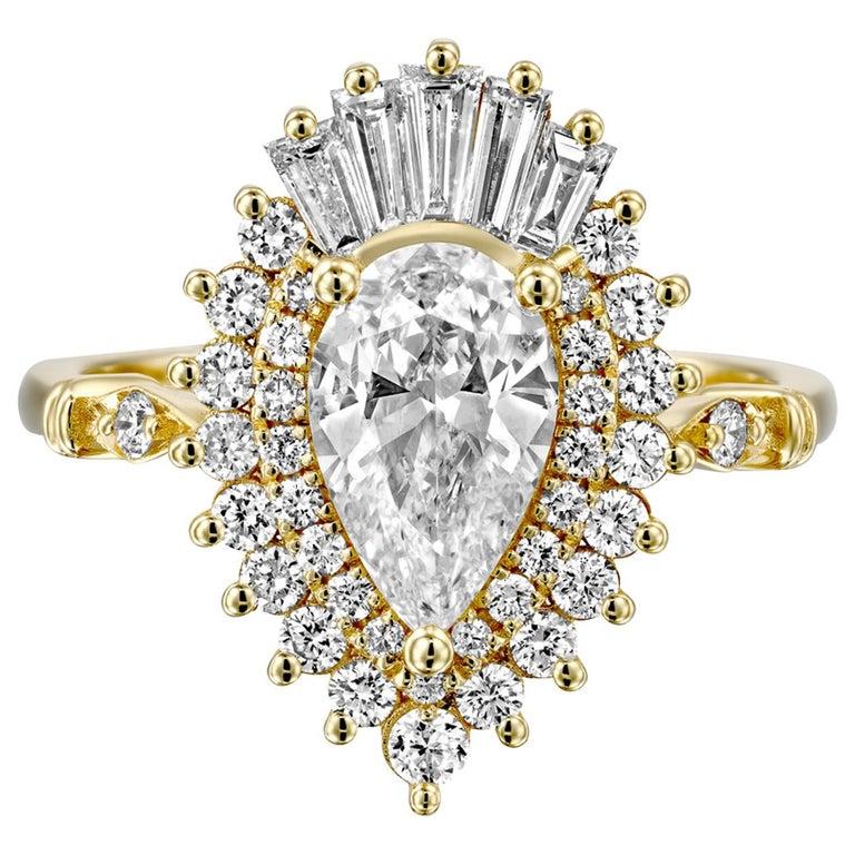 1 3/4 Carat GIA Diamond Ring, Gatsby Pear Halo 18 Karat Yellow Gold Ring For Sale