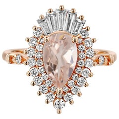 1 3/4 Carat Pear Morganite Gatsby Style 14 Karat White Gold Engagement Ring