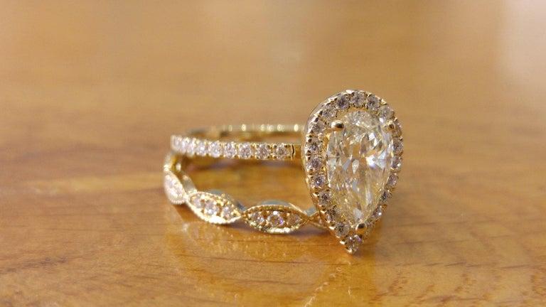 1 3/4 Carat Pear Diamond Engagement Ring Set, Diamond Rings Set, Pear Halo Ring, Diamond Engagement Ring Vintage, Art Deco Pear Shaped Ring    Main Stone Name: Natural Diamond  Main Stone Weight: 1.0 ct.  Main Stone Clarity: SI1  Main Stone Color: