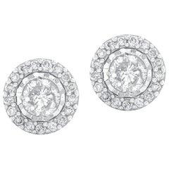 1/3 Carat Certified Round Diamond Stud Halo Earring 14 Karat Gold