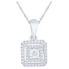 1/3 carat Certified Diamond Square Pendant in 18 Karat