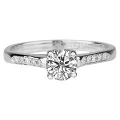 1/3 Carat Round Diamond Engagement Ring, White Gold Cathedral Ring