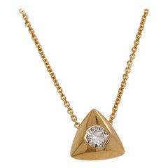 1/4 '0.25' Carat Round Brilliant Diamond Triangle Slide Pendant, 14 Karat Gold