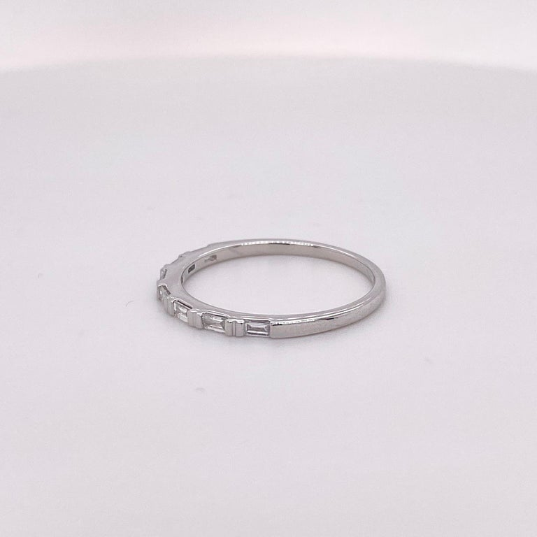 Modern 1/4 Carat Diamond Baguette Ring Band 14 Karat White Gold Wedding Stackable Band For Sale