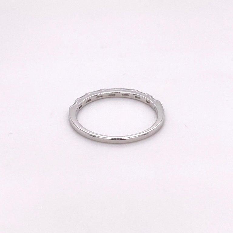 Baguette Cut 1/4 Carat Diamond Baguette Ring Band 14 Karat White Gold Wedding Stackable Band For Sale