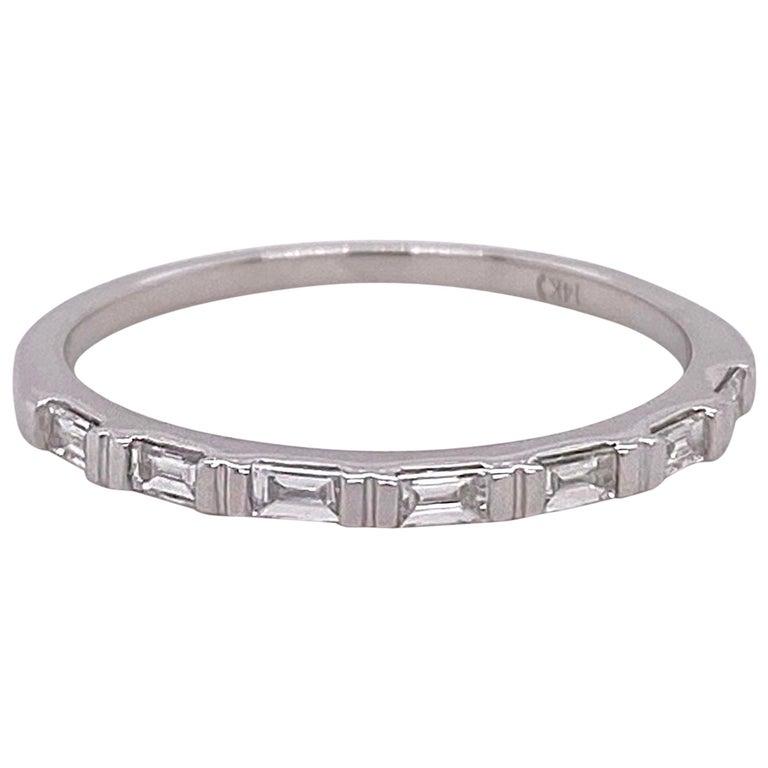 1/4 Carat Diamond Baguette Ring Band 14 Karat White Gold Wedding Stackable Band For Sale