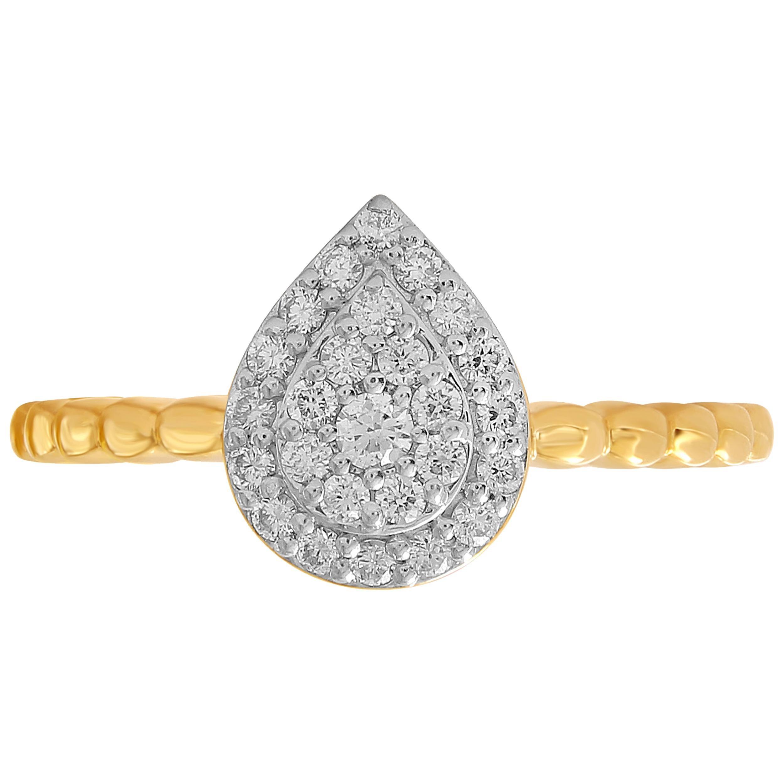 1/4 Carat Pear Shape Certified Pave Diamond Ring 14 Karat Gold