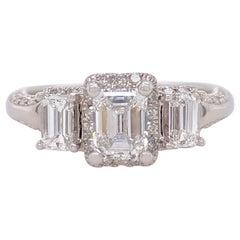 1 5/8 tcw Emerald Cut Diamond Past Present Future Frame Engagement Ring 14K WG