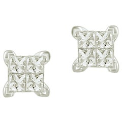1/5 Carat Princess Cut Invisible Set Certified Diamond Earring in 14kt White