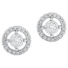 1/6 Carat Certified Round Diamond Stud Halo Earring 14 Karat Gold