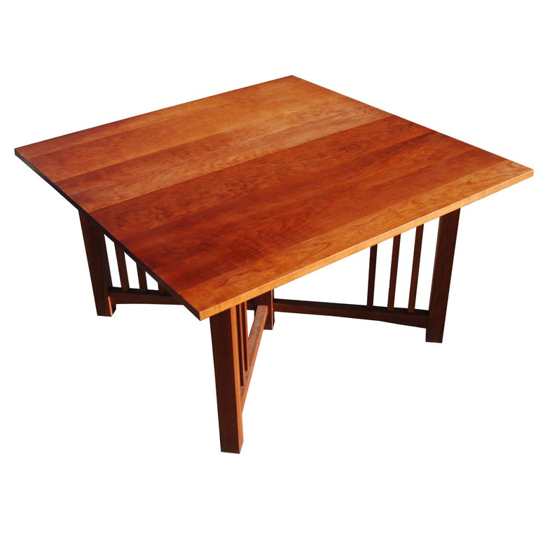 Mission Arts and Crafts trestle table    Mission, craftsman style in all wood construction    Measures: 2 available with 1 Leaf 78? W x 42? D x 29? H 52? and 78? Width x 42? Depth x 29? Height  1 available without leaf 52? W x 42? D x 29? H.