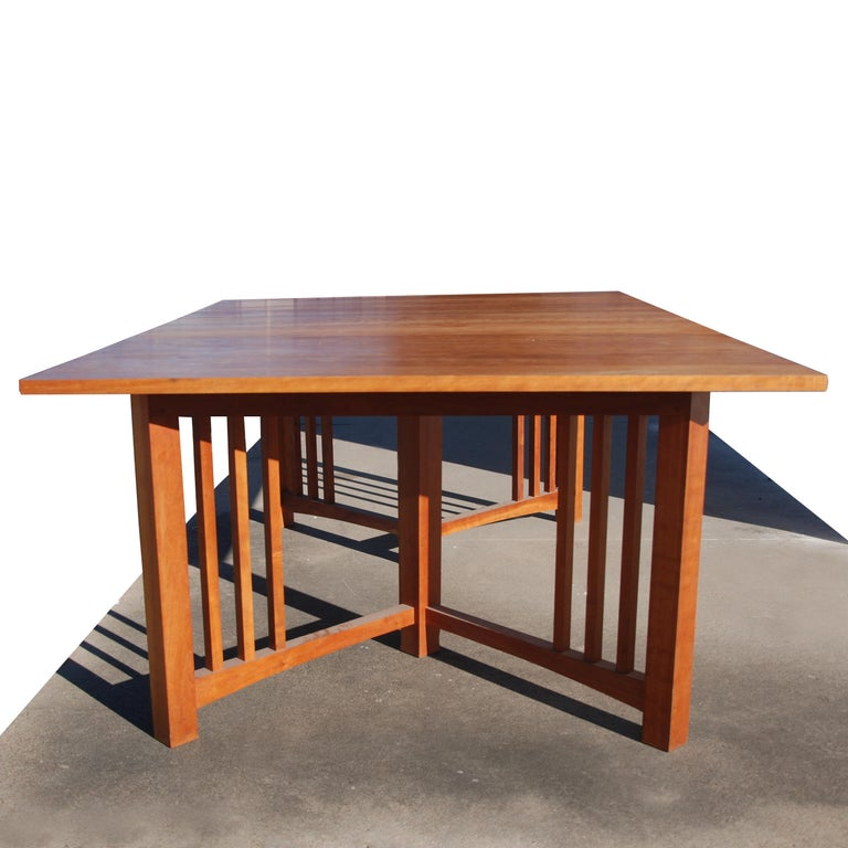Oak Extension Mission Arts and Crafts Trestle Table For Sale