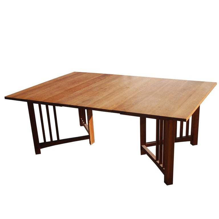 Extension Mission Arts and Crafts Trestle Table For Sale 1