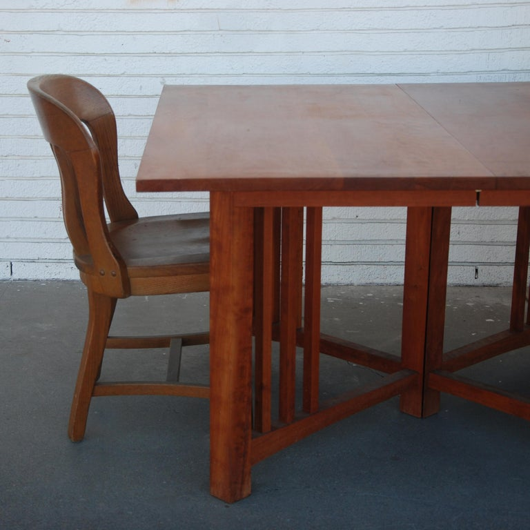 Extension Mission Arts and Crafts Trestle Table For Sale 2