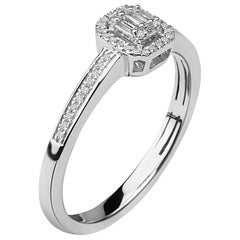 1/8 Carat Baguette Center & Round Halo Diamond Ring in 14 Karat White