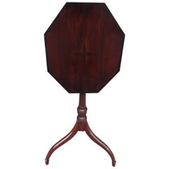 American Hepplewhite Mahogany Star Inlaid Candle Stand on Saber Legs, C. 1790