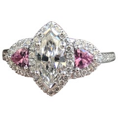 1 and 3/4 Carat Approximate Marquise Diamond and Pink Sapphire Ring, Ben Dannie